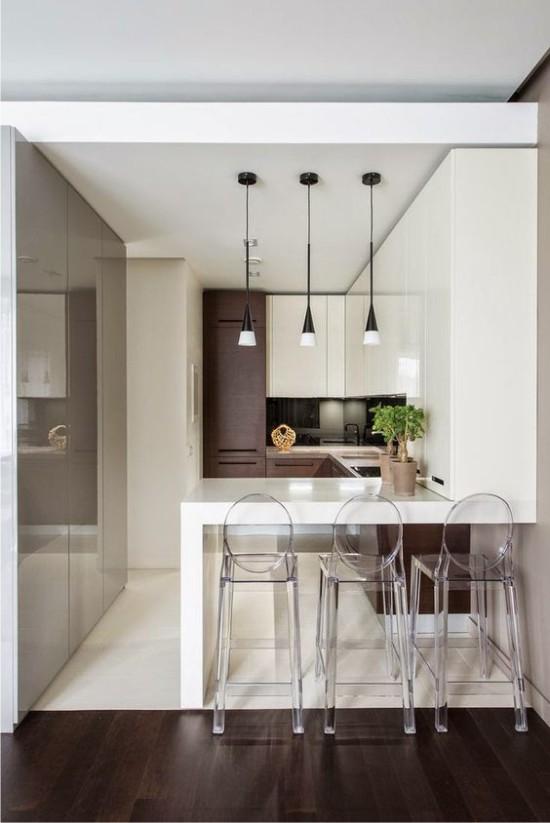 Sol de cuisine blanc dans un style high-tech