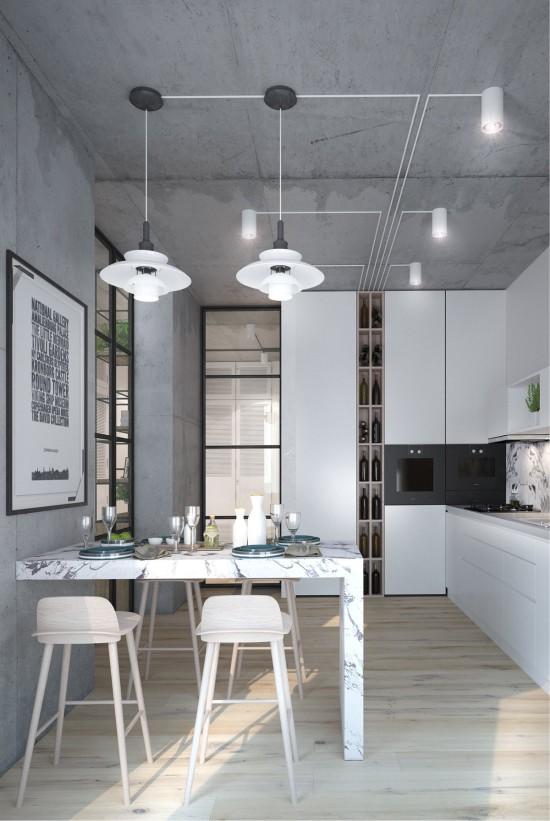 Plafond de béton dans la cuisine