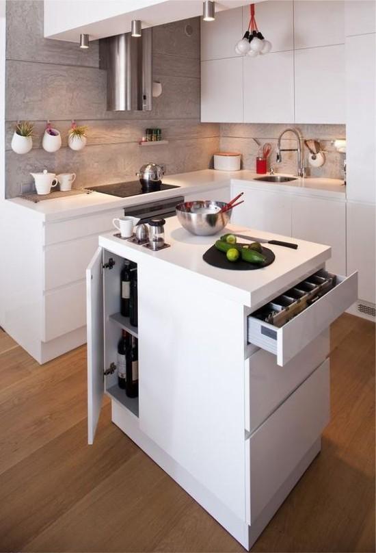 Une île dans la cuisine high-tech