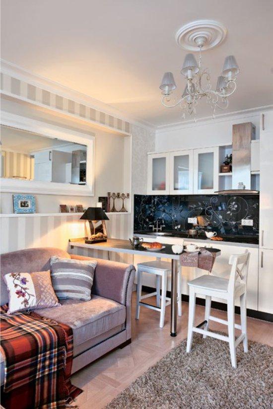 Küçük mutfakta bar tezgahı