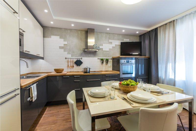 Belső tér modern konyha fából készült pult
