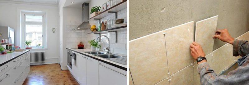 אריחי קרמיקה על קירות המטבח