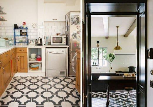רצפת המטבח ניגודיות אריחים