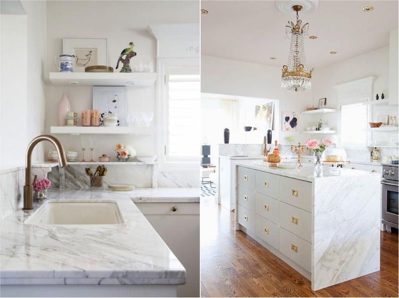 Plateau en marbre à l'intérieur de la cuisine