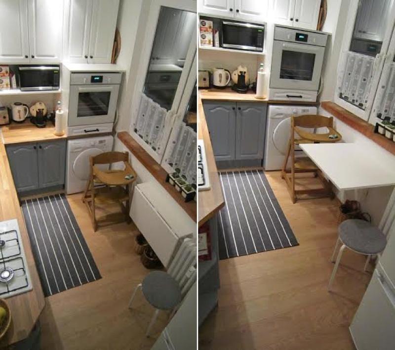 Küçük mutfakta katlanır masa
