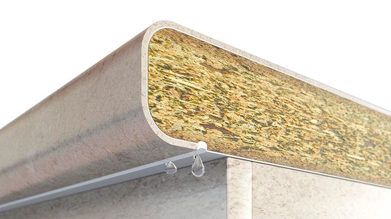 Postformage de comptoir avec bac d'égouttage