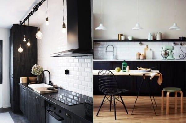 Contraste noir et blanc dans la cuisine scandinave