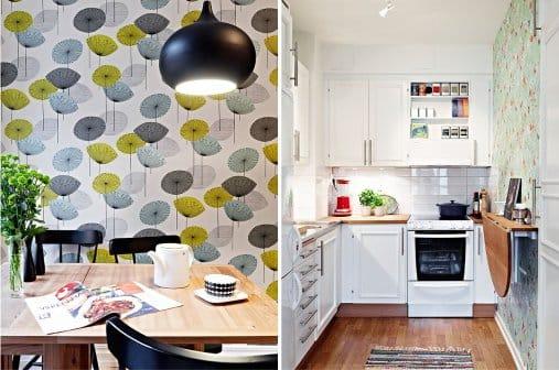 Papier peint à l'intérieur de la cuisine dans le style scandinave