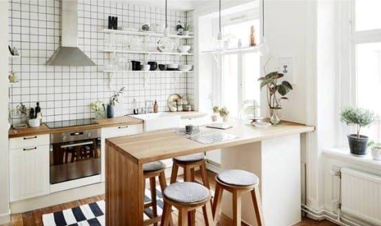 Bar dans la cuisine dans le style scandinave