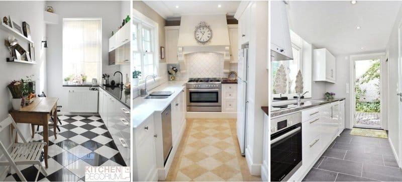 Design keskeny konyha - csempe a padlón