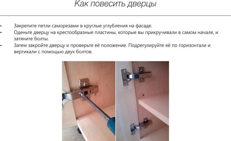 hogyan kell lógni az ajtókat a konyhai szetten