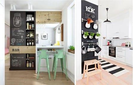 papier peint crayeux et des planches dans la cuisine