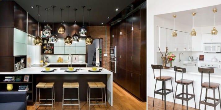 Metal en el interior de la cocina en estilo moderno.