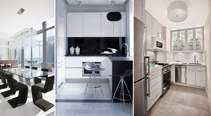 Plastique et verre à l'intérieur de la cuisine dans un style moderne