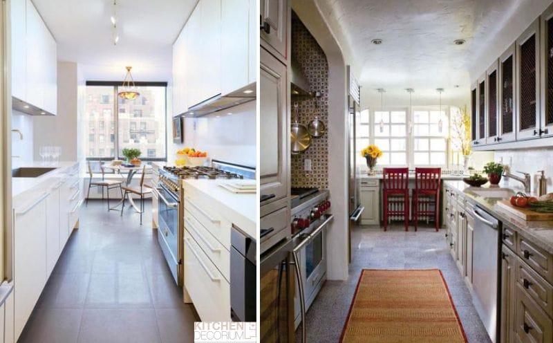 Téglalap alakú, hosszúkás konyha