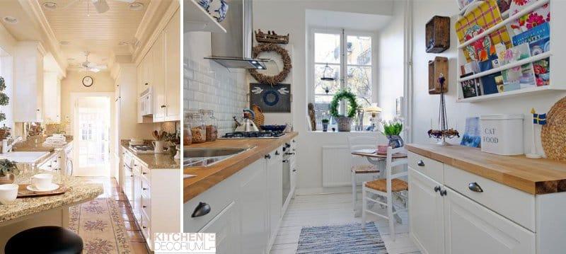 Bútorok elrendezése a keskeny konyhában