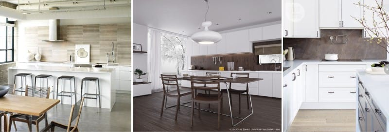 La combinación de materiales artificiales y naturales en la cocina en estilo moderno.