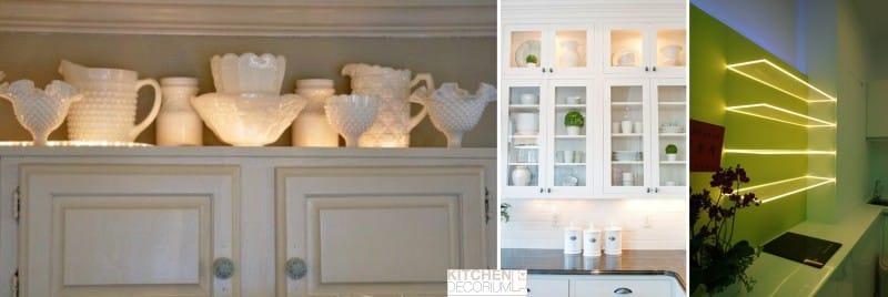 תאורה דקורטיבית של מדפי זכוכית, חזיתות זכוכית צבעונית של המטבח