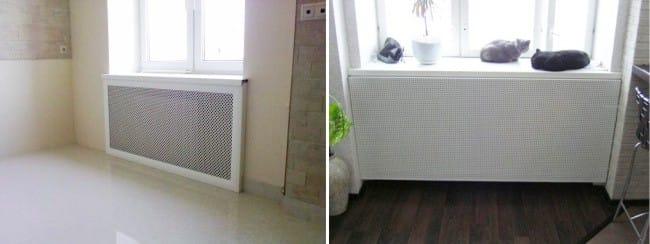 az akkumulátor és a radiátorok dekoratív képernyők tervezése
