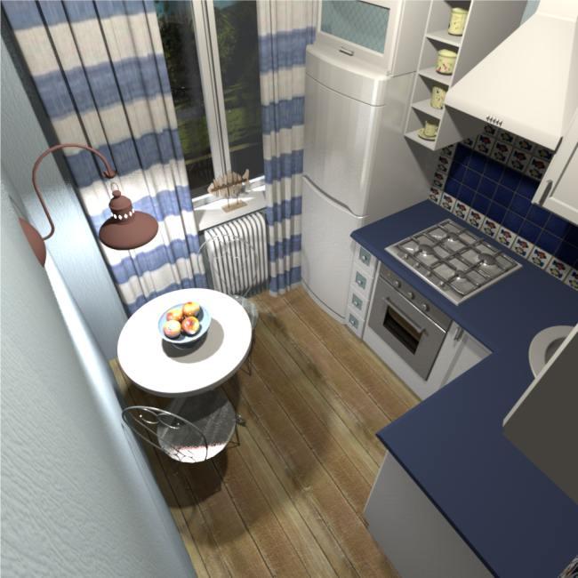 Tervezzen egy kis kék konyhát tengeri stílusban.