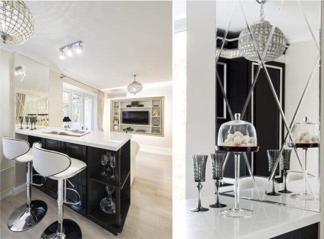 Egyszobás apartman kialakítása kis konyhával és nappalival - bárpult