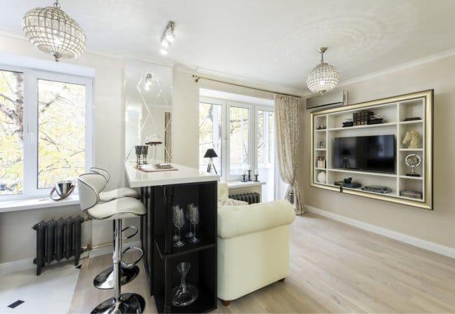 Egy egyszobás apartman kialakítása kis konyhával és nappalival - a bárszámláló rendezése