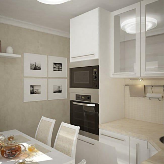 Egy fehér kis konyha modern stílusban történő tervezése