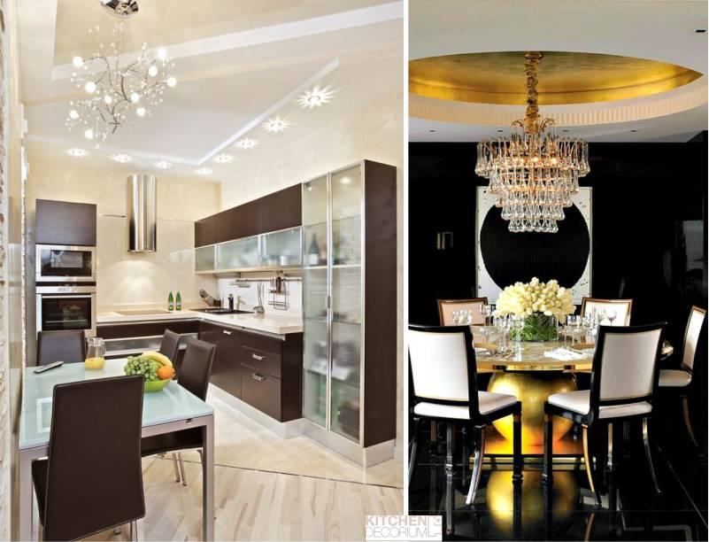 Gipszkarton mennyezet a konyhában - tervezés és világítás