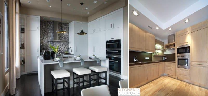 Gipszkarton mennyezet a konyhában - kétszintes spotlámpákkal