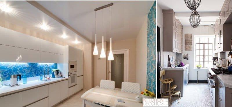 Gipszkarton mennyezet a konyhában, fülkékkel és szegélyekkel
