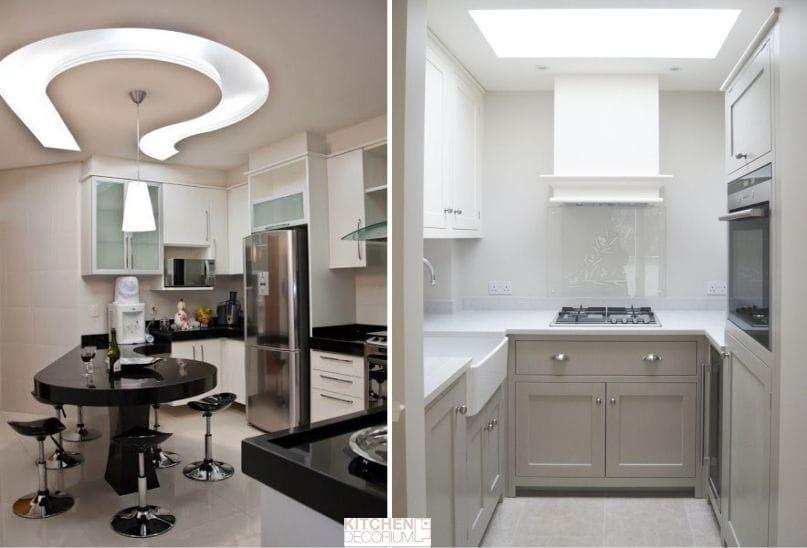 Gipszkarton mennyezet egy kis konyhában