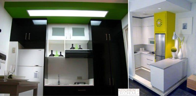 Gipszkarton mennyezet egy nagyon kis konyhában