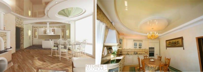 Gipszkarton mennyezet - kiemelve a nagy konyha étkezőjét