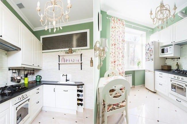 A belső tér egy kis konyha, egy ablak a falon - egy átfogó terv