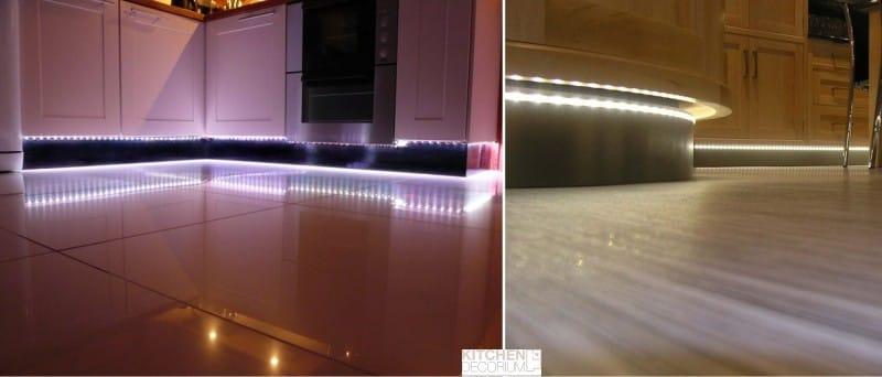 אורות LED במטבח למטה