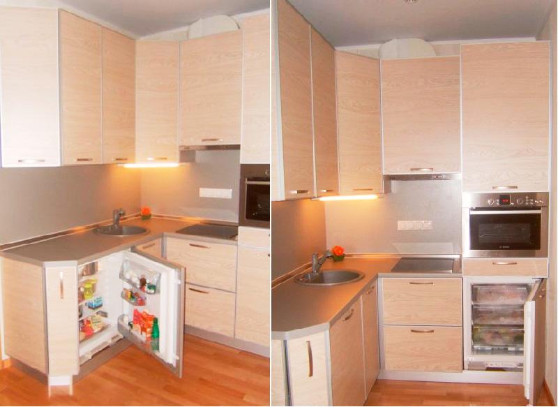 Pieni ja sisäänrakennettu jääkaappi ja pakastin pöydän alla