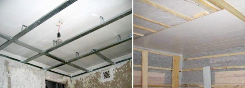 Installation de panneaux en plastique au plafond - cadres en profilés métalliques et barres en bois
