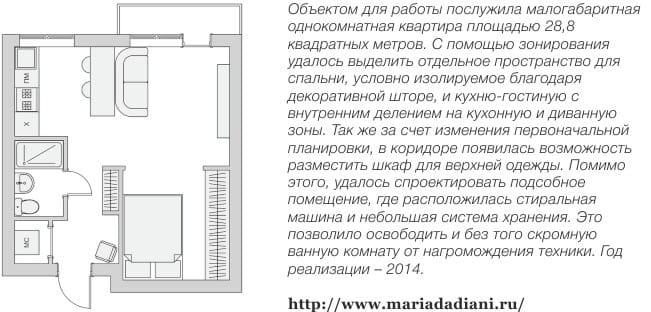 Terv az egyszobás apartman kis konyhával és nappalival való átalakítására