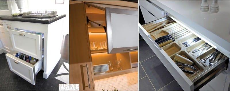 LED páskové světlo uvnitř kuchyňských skříní