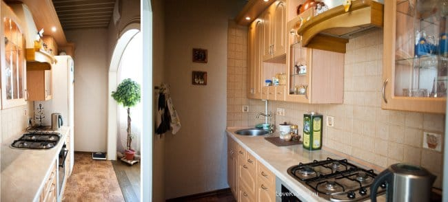 Felújítása egy kis konyha, egy boltíves kilátással a konyhára