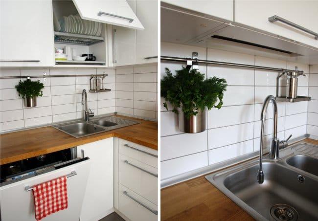 Javítson ki egy kis konyhát partíció - munkaterülettel