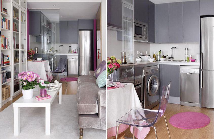 Dapur kelabu dengan aksen ungu dan merah jambu