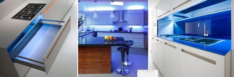 Modré kuchyňské osvětlení