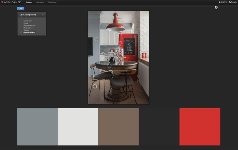 Menggambar skema warna dalaman dapur