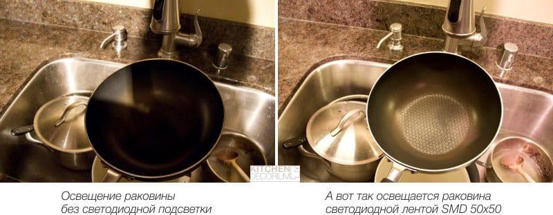 LED světla v kuchyni - příklad