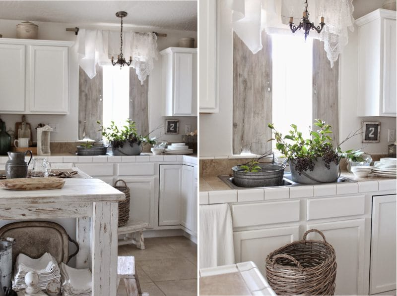 קערות קשורות בפנים המטבח בסגנון פרובנס