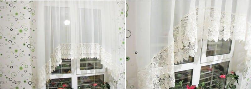 Fehér íves függöny a konyhában