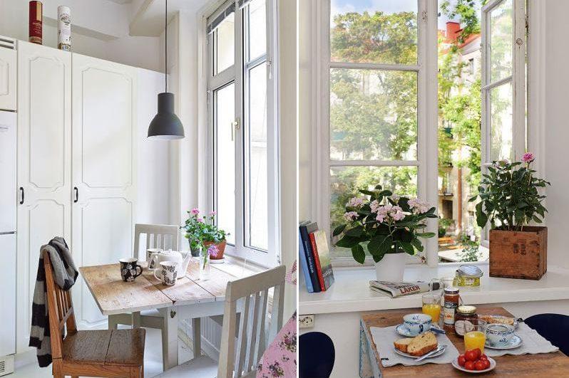Kukat keittiön sisätiloissa
