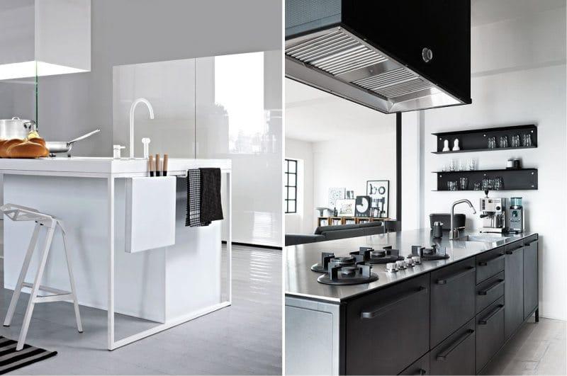 עיצוב מטבח עם אי בסגנון של מינימליזם הייטק