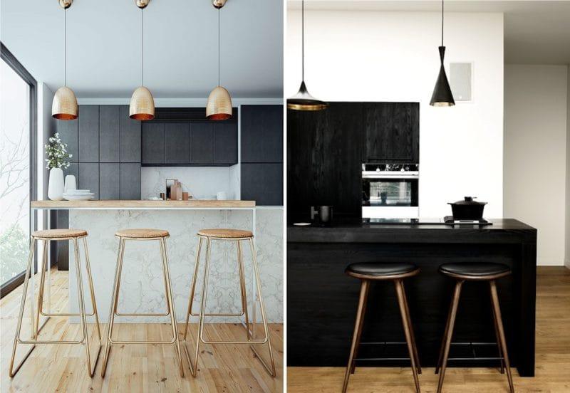 עיצוב מטבח עם אי בסגנון של מינימליזם